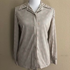 Vintage Button-Up Clover Leaf Blouse